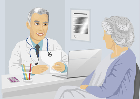 mature: Senior female patient having consultation with mature doctor in the office