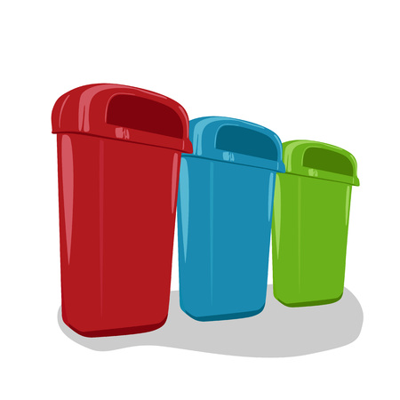 segregate: Different colored recycle bins set isolated on white background