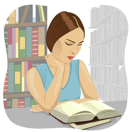woman middle age: Portrait of a serious young student reading a book in a library Illustration