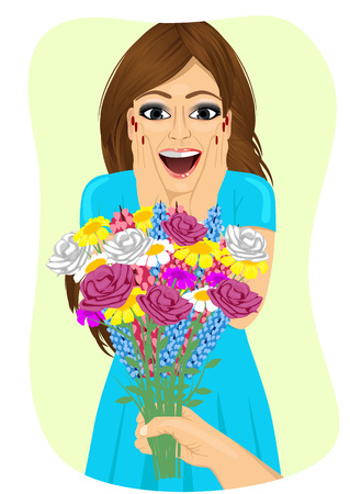 receiving: Surprised young woman receiving a bouquet of wild flowers on a date from mens hand Illustration