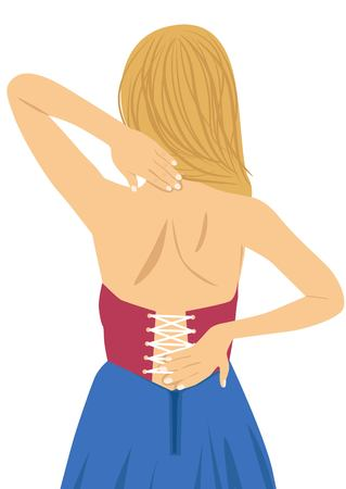 woman back pain: Young woman rubbing her painful back. Pain relief, chiropractic concept on white background