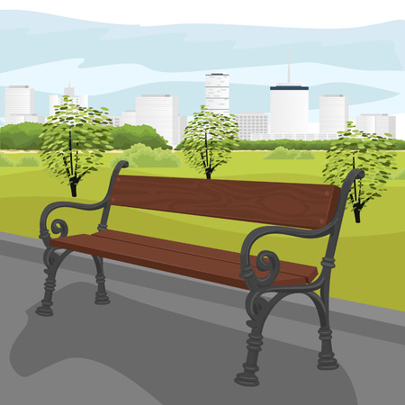 bench alone: Empty wooden bench in the city park in summer