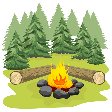 clearing: Campfire with stones and wooden logs in a forest clearing