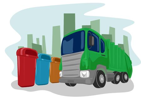 picking up: Illustration of recycling green truck picking up bins Illustration
