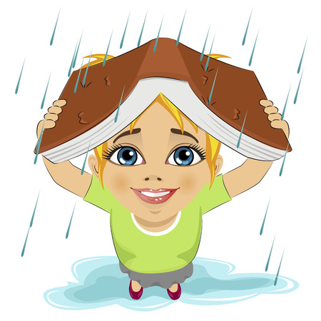 girl in rain: Little cute girl using book like protection of rain. School concept