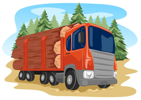 logging truck: heavy loaded logging truck in a forest Illustration