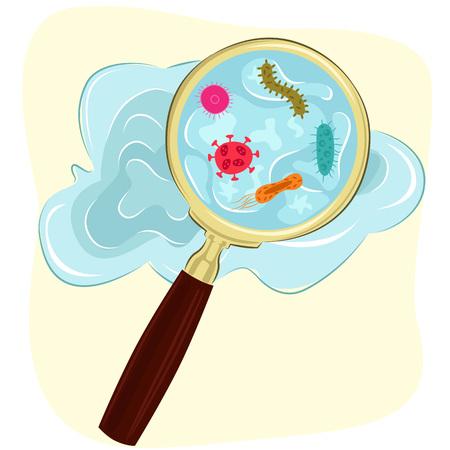 ziektekiemen, bacteriën en virus cellen in het water onder een vergrootglas Vector Illustratie