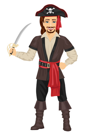 caribbean party: Handsome man in pirate costume holding a sword