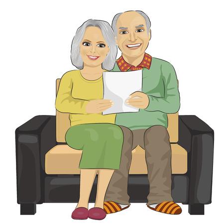 Portrait eines glücklichen Senior Lesung Brief Paar togetherer isoliert auf weißem Hintergrund
