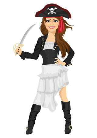Young woman in pirate costume holding a sword
