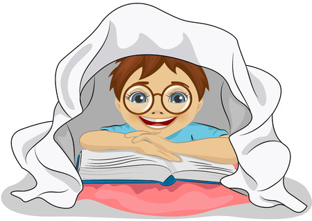 under the bed: Little boy with glasses reads a book in bed under the blanket Illustration