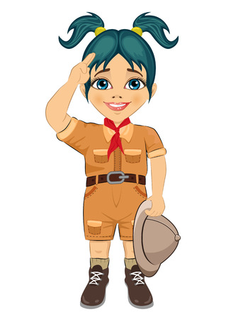 girl scout: Young happy boy scout girl doing a hand sign and holding Safari hat isolated on white background