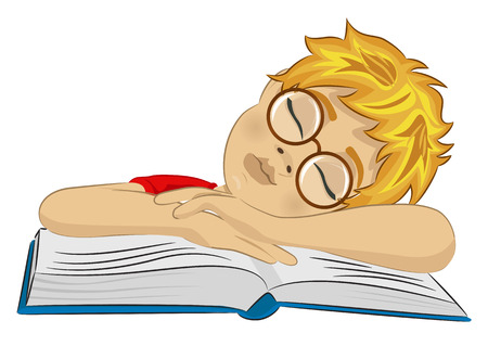 Teenager boy with glasses fallen asleep on his book on white background Stock Vector - 58217636