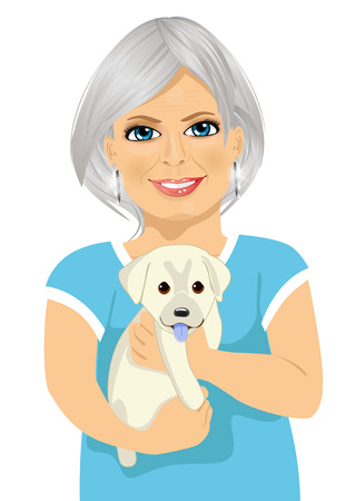 labrador puppy: Elderly woman with her kind little labrador puppy isolated over white background Illustration