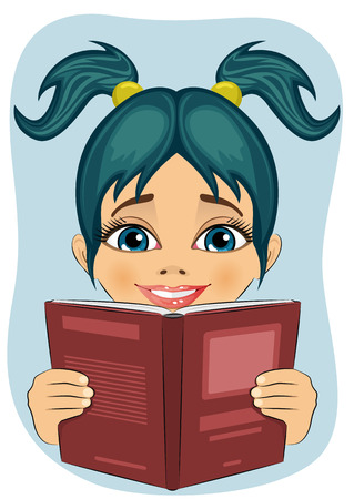 interesting: surprised little girl reading interesting book isolated over blue background