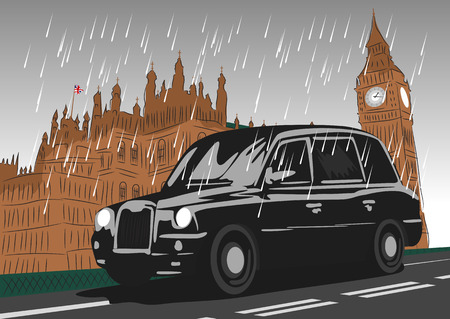 houses of parliament: Black taxi cab moving on Westminster Bridge in the rain Illustration