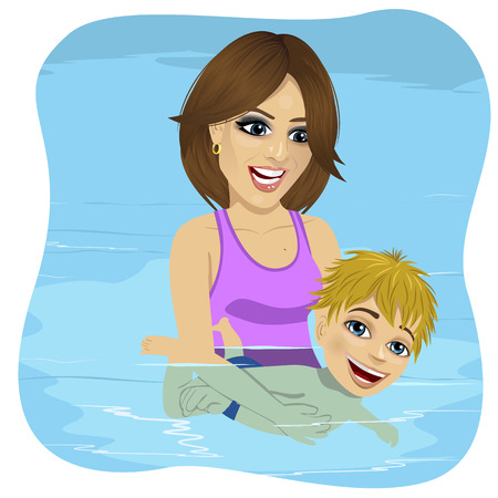 young boy in pool: Little boy learning to swim in a swimming pool, mother holding the child