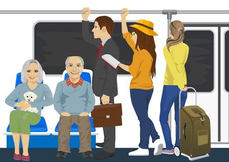 Diversas personas dentro de un tren subterráneo de metro
