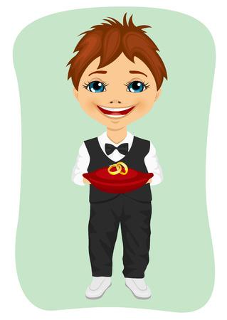 bearer: Little boy holding wedding rings on cushion. Ring bearer isolated on green background