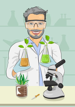 Mature man biologist with protective glasses holding two flasks with plants next to microscope in the laboratory Illustration