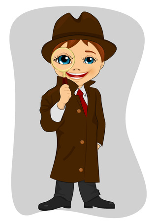 crime solving: Detective boy looking through magnifying glass on gray background Illustration