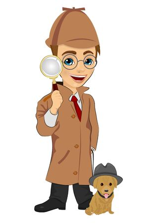 clues: Detective boy with dog holding magnifying glass isolated over white background