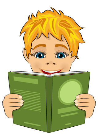 interesting: surprised little boy reading interesting book isolated over white background Illustration