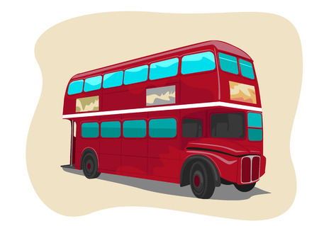 decker: Red traditional double decker London bus. Vector illustration Illustration