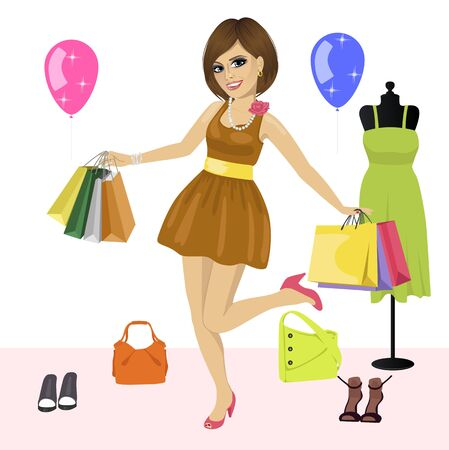 young womens: Young fashion woman having fun with shopping bags over womens clothes