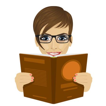 jonge mooie vrouw met een bril lezen van een boek op witte achtergrond Stock Illustratie