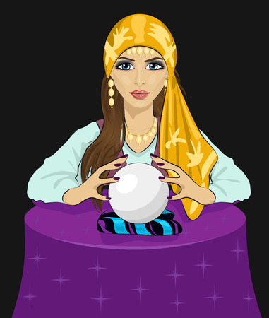 Young fortune teller woman reading future on a magical crystal ball over black backround Stock Illustratie