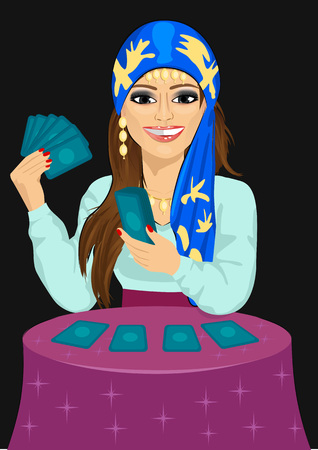 Young fortune teller forecasting the future with tarot cards over black background Vettoriali