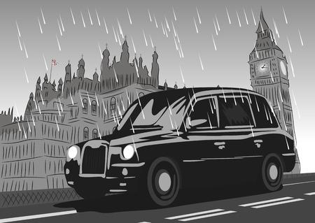 black cab: Black taxi cab moving on Westminster Bridge in the rain. Monochrome illustration Illustration
