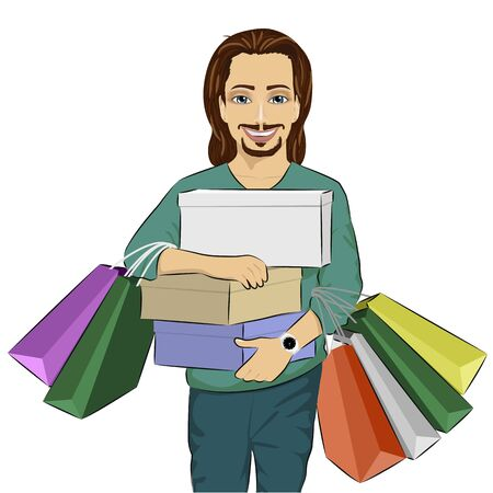man carrying: Handsome man carrying stacks of boxes and shopping bags on white background