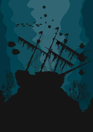 Illustration of silhouette of a ghost ship underwater