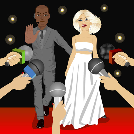 reporters: illustration of african american bodyguard protecting celebrity woman from press reporters Illustration
