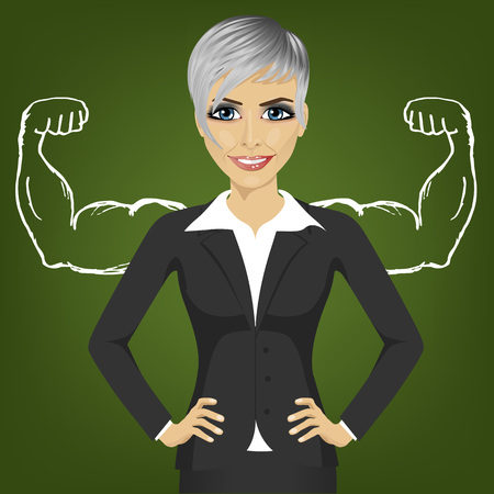 Young business woman with strong arm muscles for success standing with hands on hips. Reality vs ambition wishful thinking concept