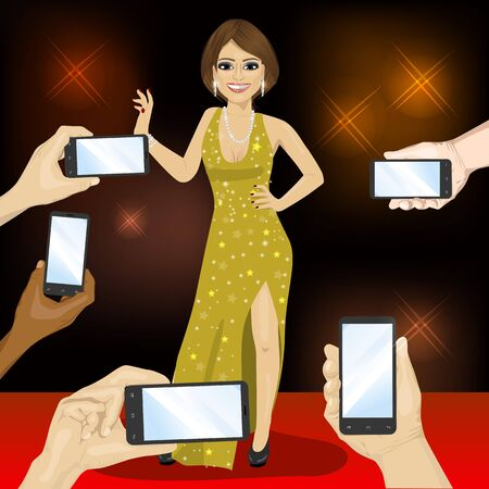 rich people: Young famous woman posing on a red carpet for people with smartphones
