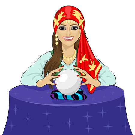 fortuneteller: Beautiful fortune teller woman reading future on a magical crystal ball Illustration
