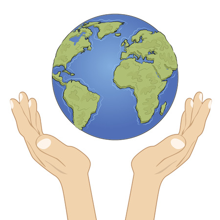hands holding earth: Hands holding earth globe with care over white background. Ecology concept Illustration
