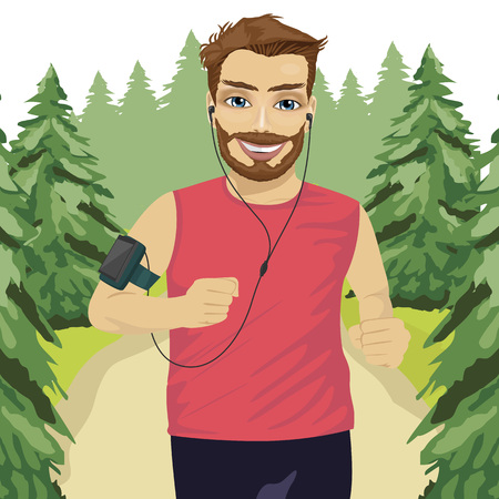 armband: Runner man jogging in the park with smartphone armband listening to music playlist on mobile phone app and earphones for workout Illustration