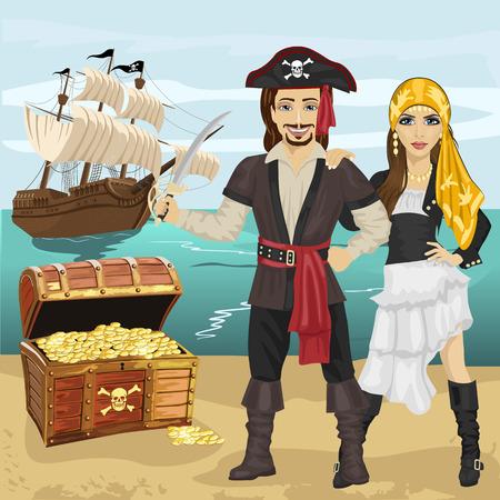 pirata mujer: hombre y una mujer en traje de pirata que sostiene una espada de pie cerca de cofre del tesoro abierto en la playa en frente del barco pirata Vectores