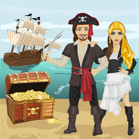 pirate girl: Young man and woman in pirate costume holding a sword standing near open treasure chest on beach in front of pirate ship