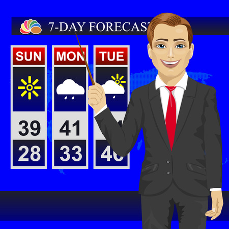 anchorman: TV weather news reporter meteorologist anchorman reporting with pointer on the monitor screen Illustration