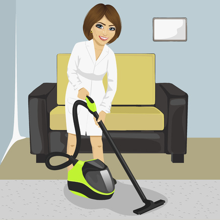dirty carpet: Full length of young woman in white bathrobe cleaning carpet with vacuum cleaner at home Illustration