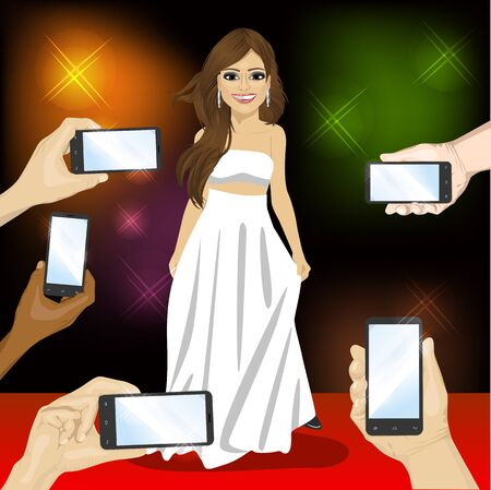 famous actress: Beautiful famous woman posing on a red carpet for people with smartphones