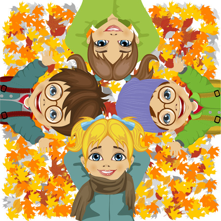 lying in: happy kids lying on colorful autumn leaves in the park Illustration