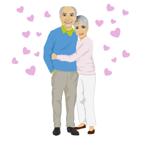full length woman: Happy smiling senior couple embracing together with pink hearts isolated on white background