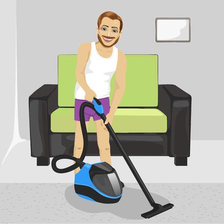 slip homme: pleine longueur d'un jeune homme en sous-vêtements de nettoyage de tapis avec un aspirateur à la maison Illustration