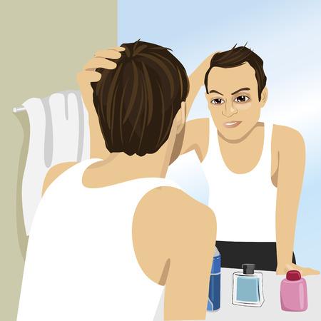 若い男の鏡で見ながら抜け毛を心配しています。